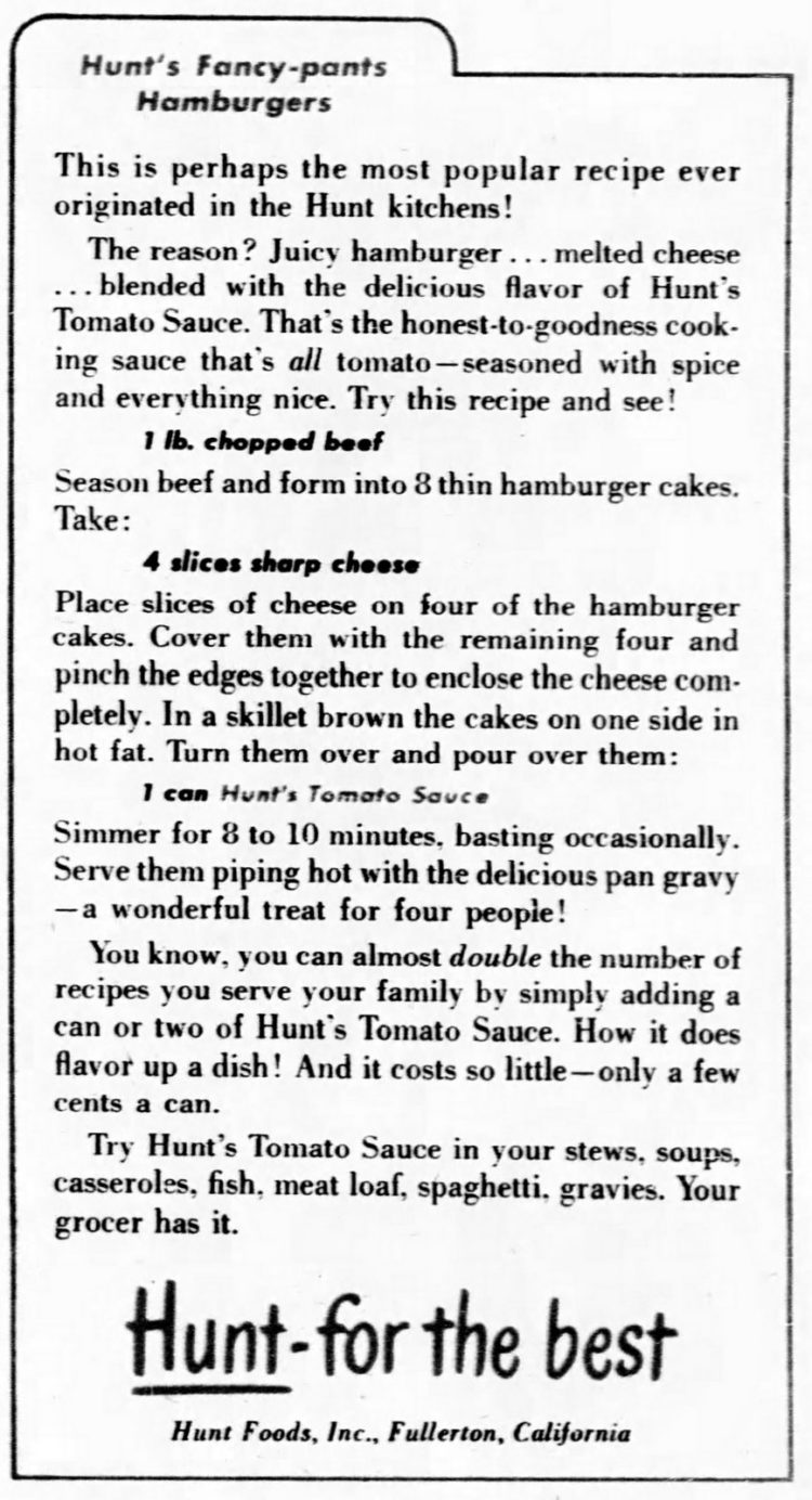 Hunt's fancy-pants Hamburgers (1953)