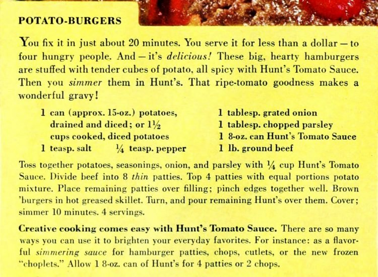 Hunt's potato burgers retro dinner recipe card from 1959