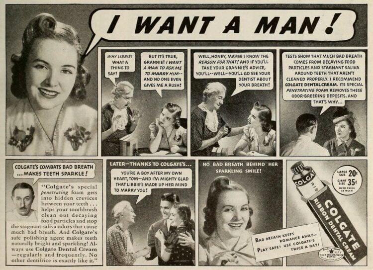I want a man - Vintage toothpaste ad 40s 50s