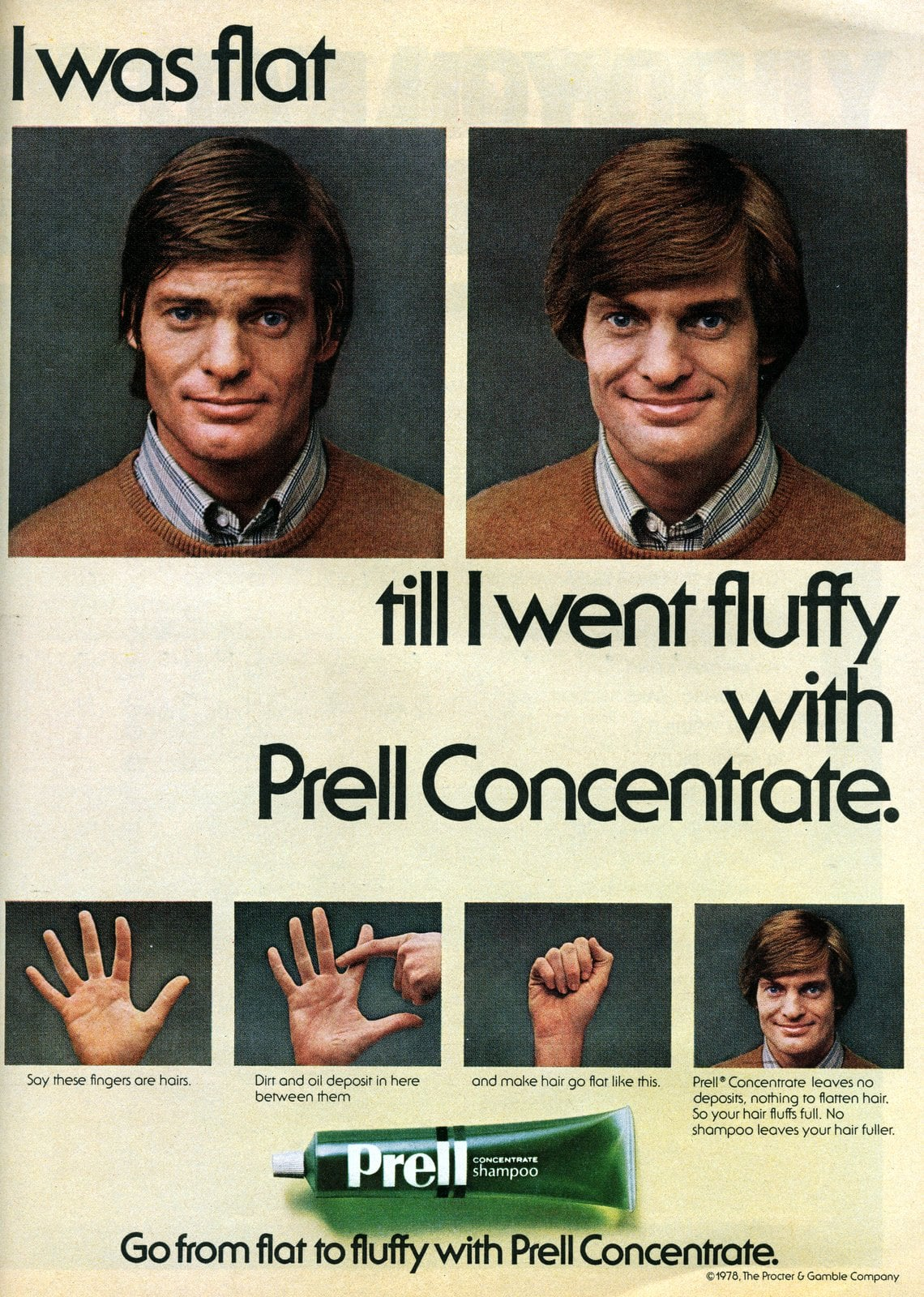 I was flat till I went fluffy. with Prell Concentrate (1978)