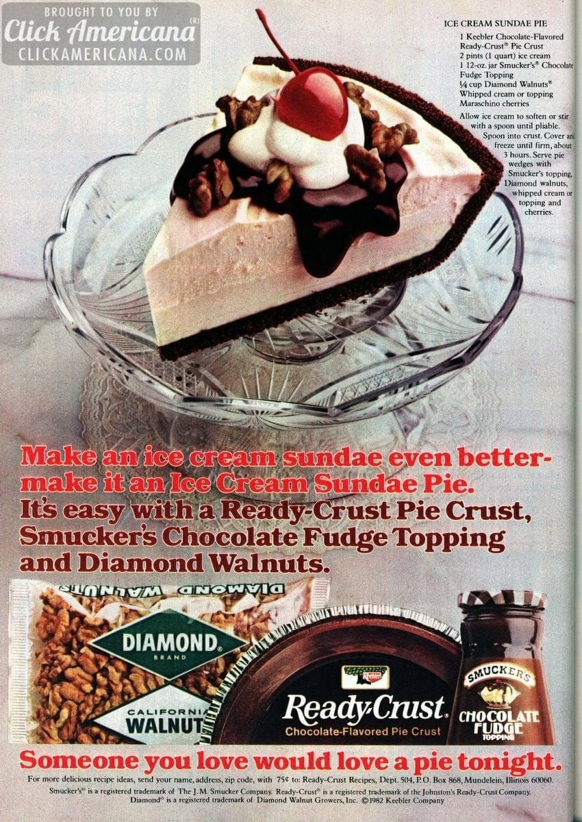 Ice cream sundae pie recipe (1982)