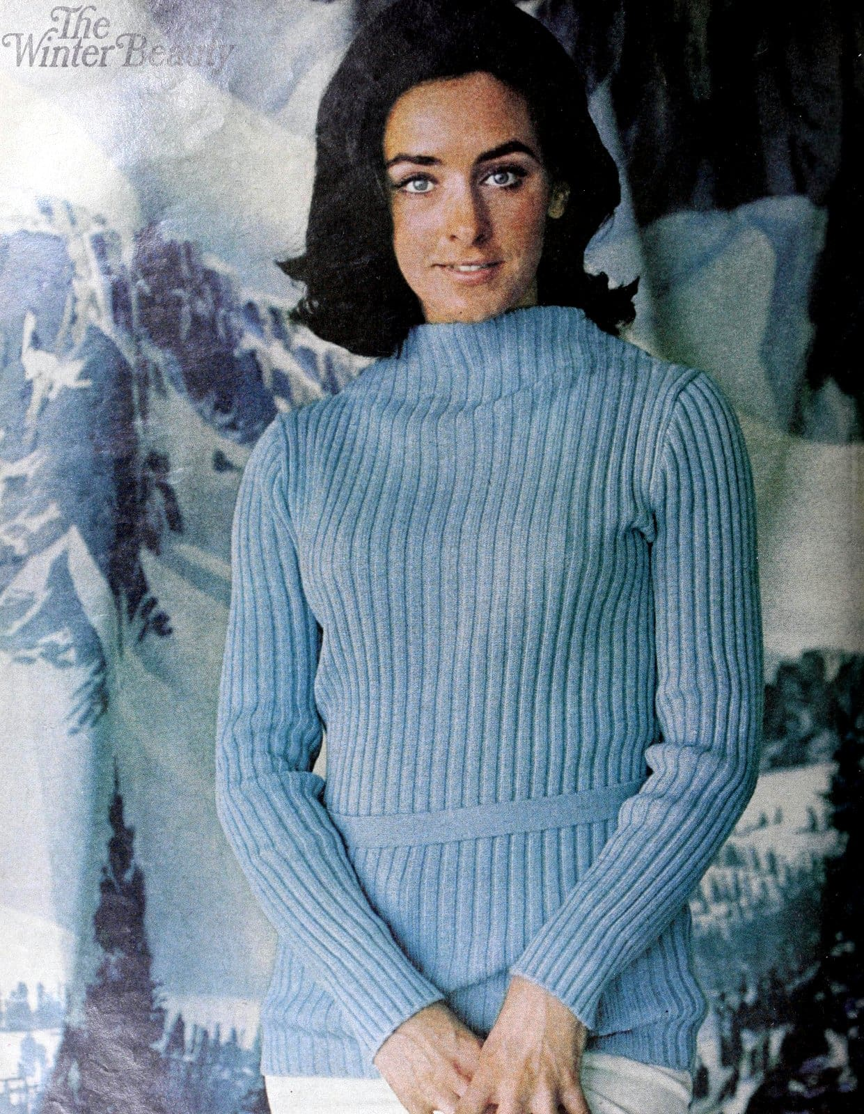 Ice skater Peggy Fleming in an ice-blue Geist and Geist ribbed sweater (1969)