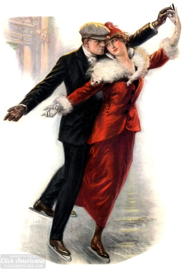 Ice skating couple 1915