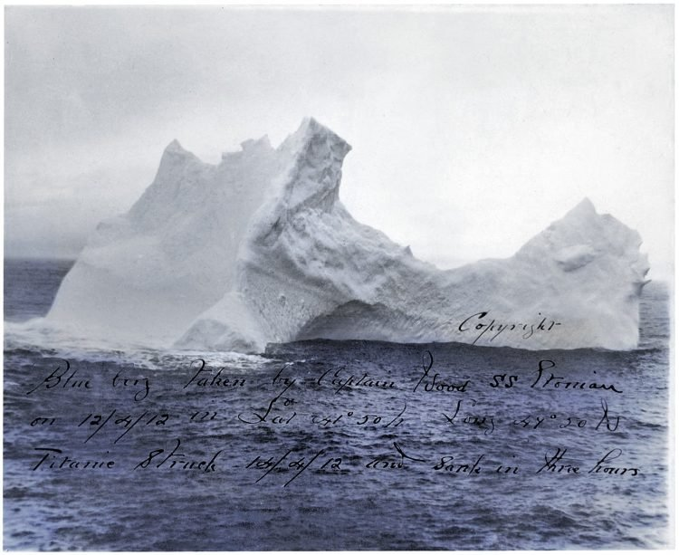 Iceberg thought to have sunk the Titanic - Blue berg taken by Captain Wood S. S. Etonian