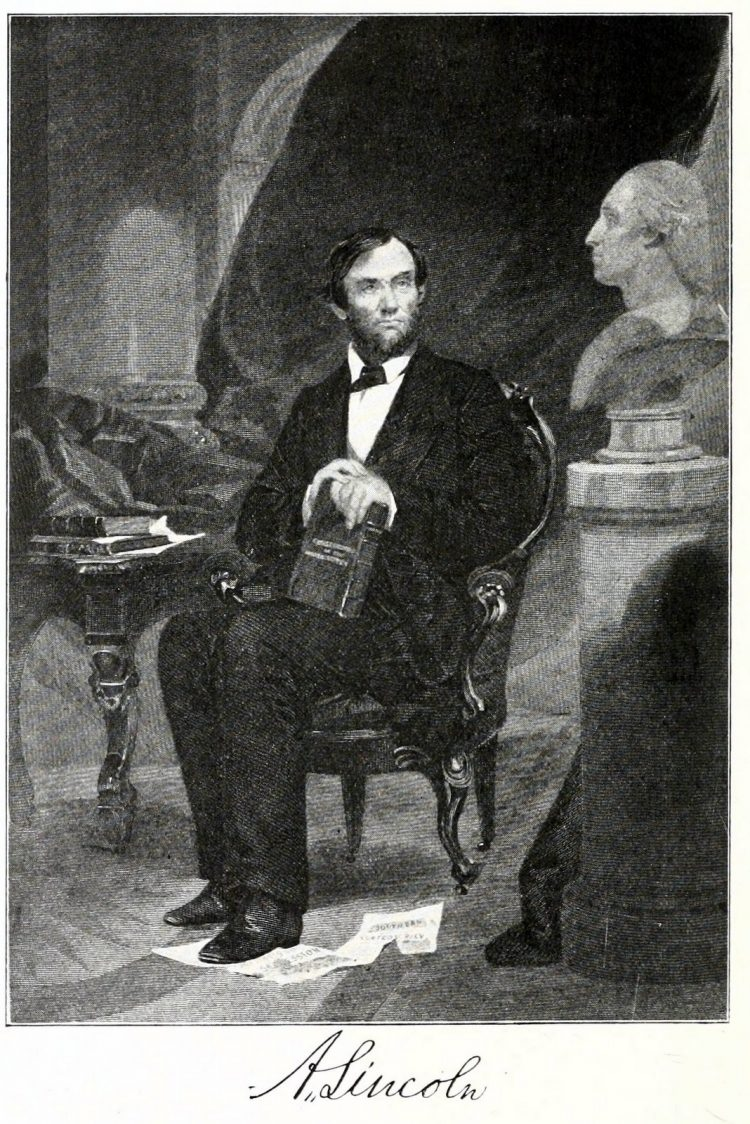 Illustration of Abraham Lincoln seated