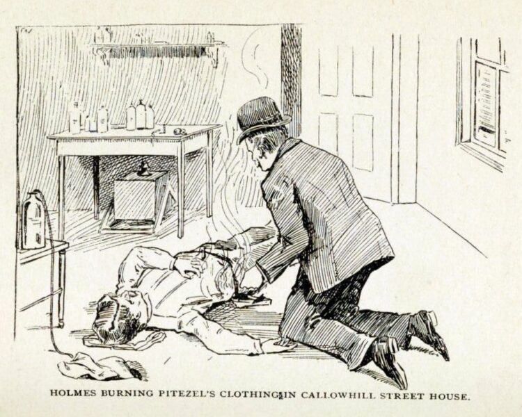 Illustration of H H Holmes buyrning Pitezel's clothing at the Callowhill Street house