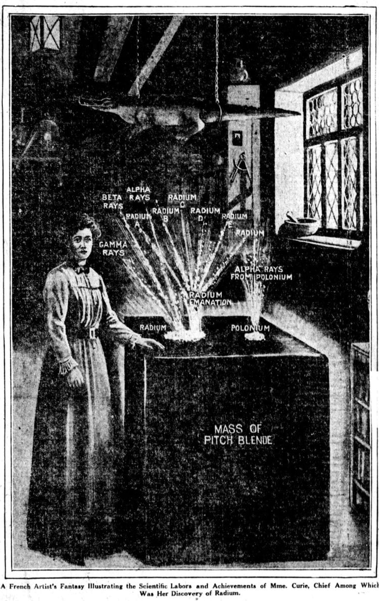 Illustration of Marie Curie - Radium - from 1914