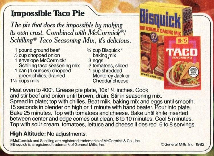 Impossible Taco Pie recipe card