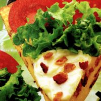 Impossible bacon, lettuce and tomato pie