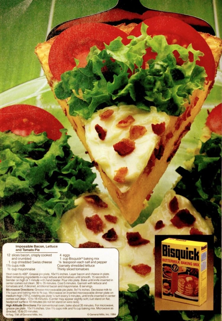 Impossible bacon, lettuce and tomato pie Retro recipe from 1984