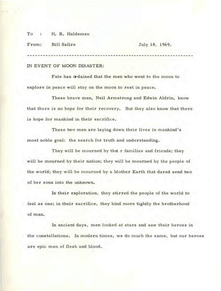 In case of moon disaster - 1969 Nixon Safire memo-1