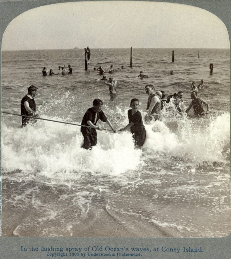 In the dashing spray of old ocean's waves, at Coney Island c1900