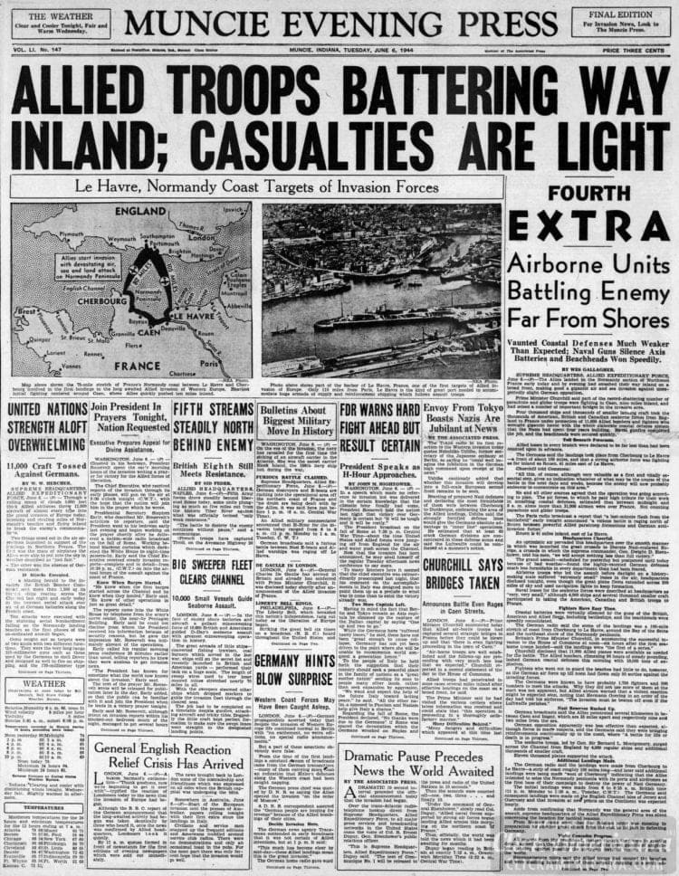 Allied Troops Battering Way Inland; Casualties are Light