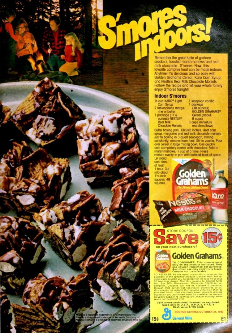 Indoor S'mores recipe Chocolate dessert bars made with Golden Grahams cereal