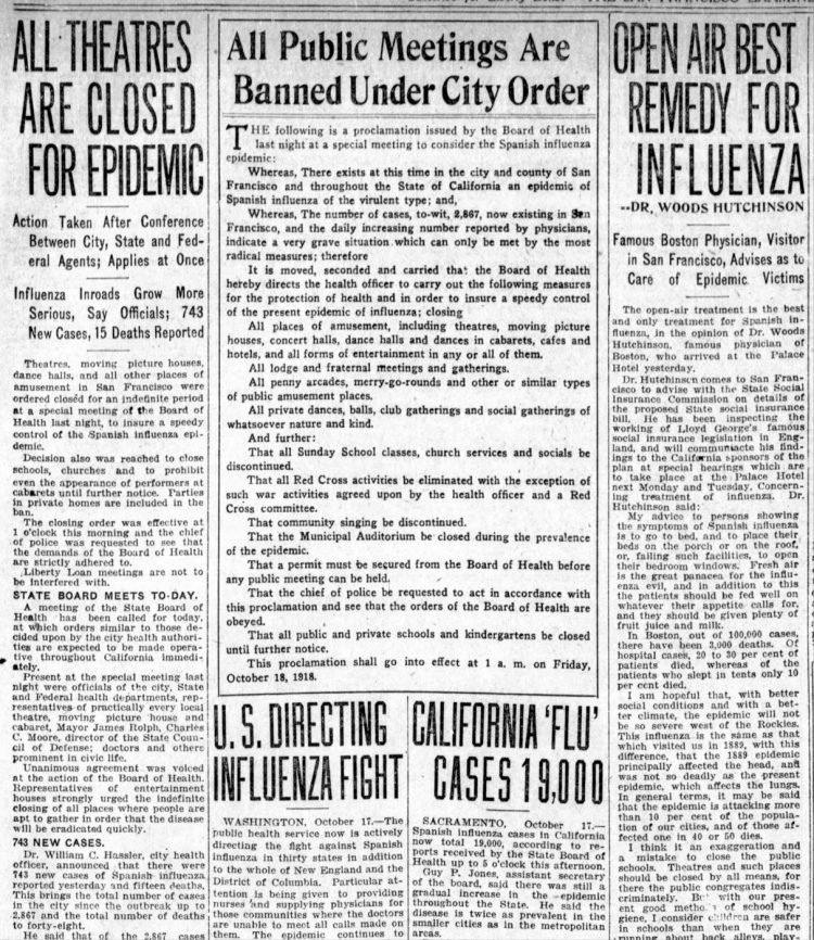 Influenza headlines from the San Francisco Examiner - October 18 1918