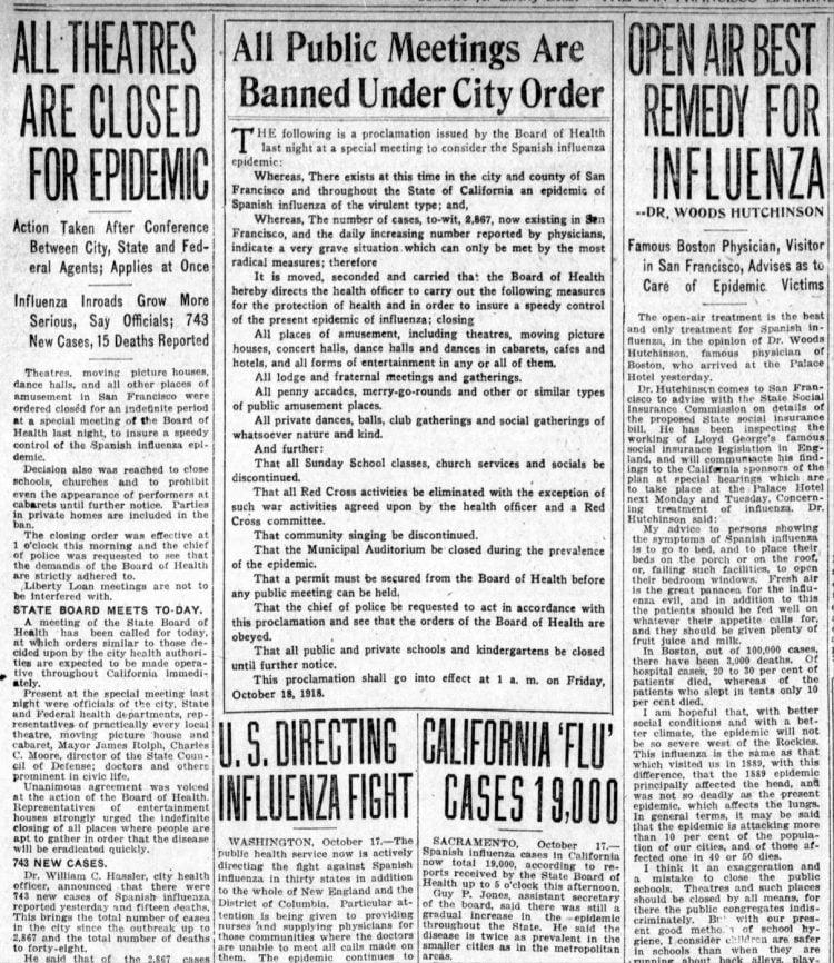 Influenza headlines from the San Francisco Examiner - October 18 1918