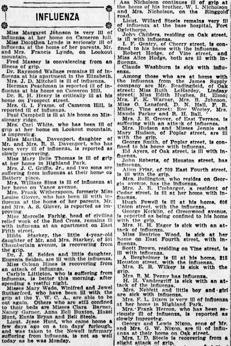 Influenza illnesses from the Chattanooga News - October 15 1918