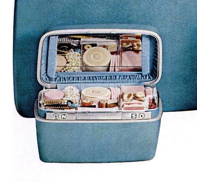 Inside a packed vintage cosmetics case (1965)