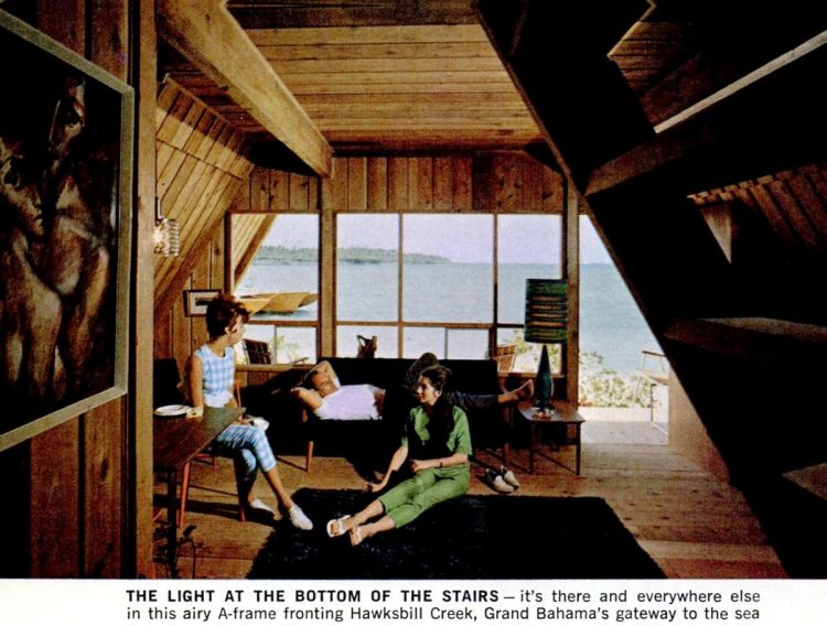 Inside an A-frame house from the 60s