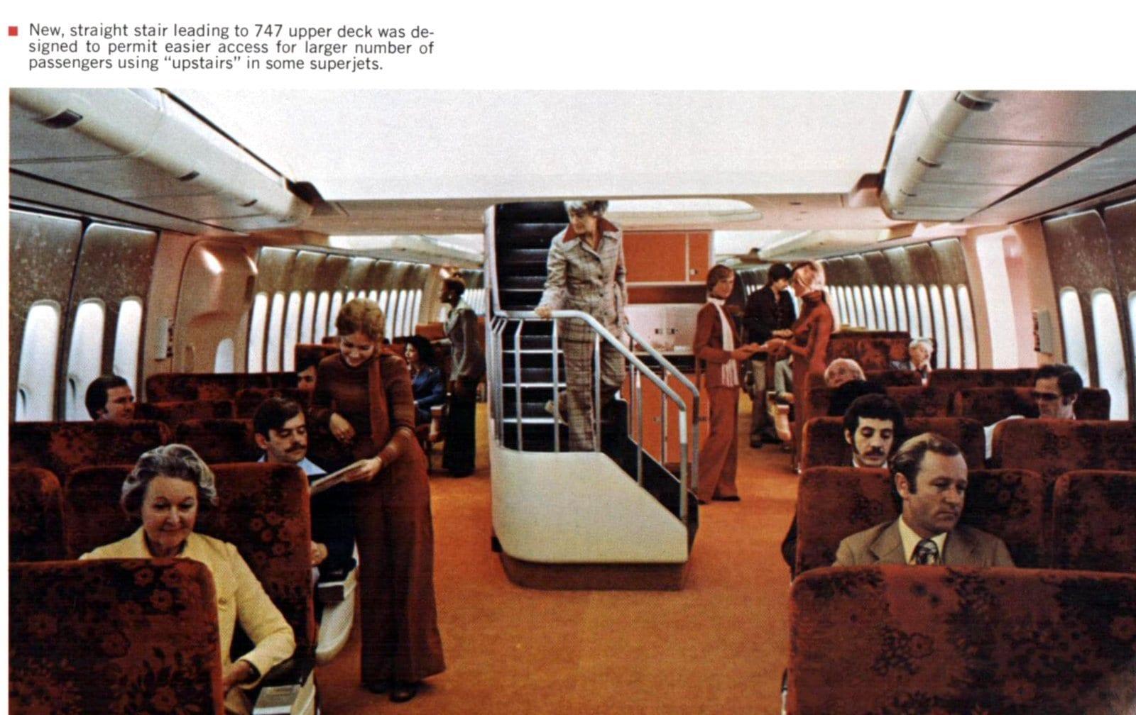 Inside passenger stairway on vintage Boeing 747 plane (1975)