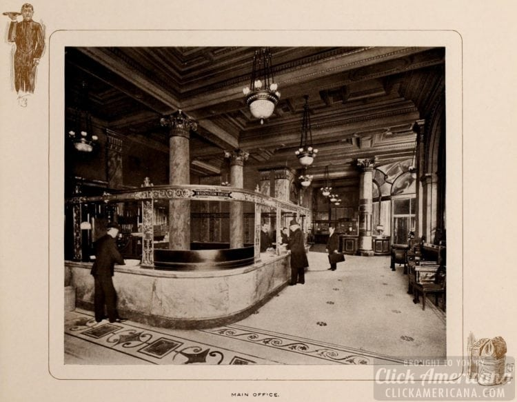 Inside the Waldorf-Astoria Hotel - Main office - 1903