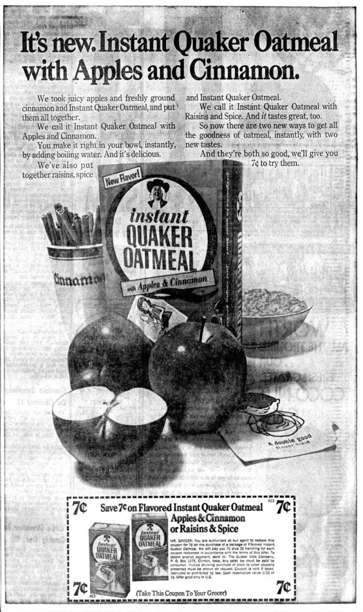 Instant Quaker Oatmeal - 1968