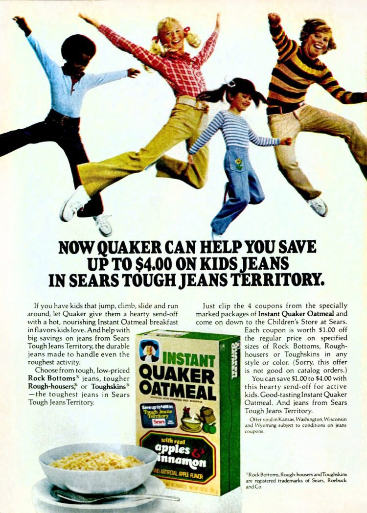 Instant Quaker Oatmeal - Apples and cinnamon flavor - 70s