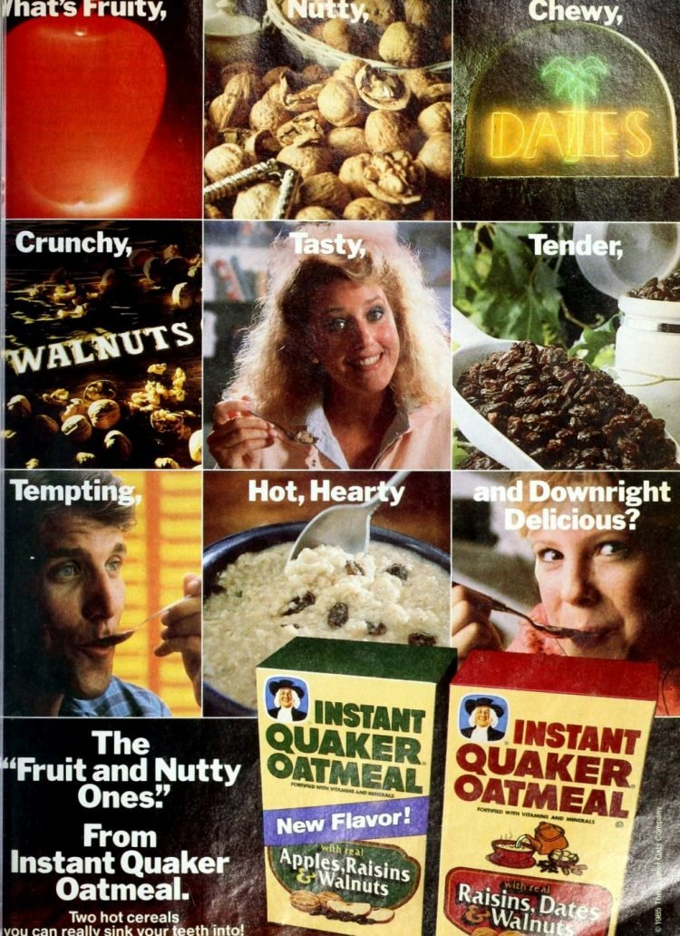 Instant Quaker Oatmeal flavors from 1986