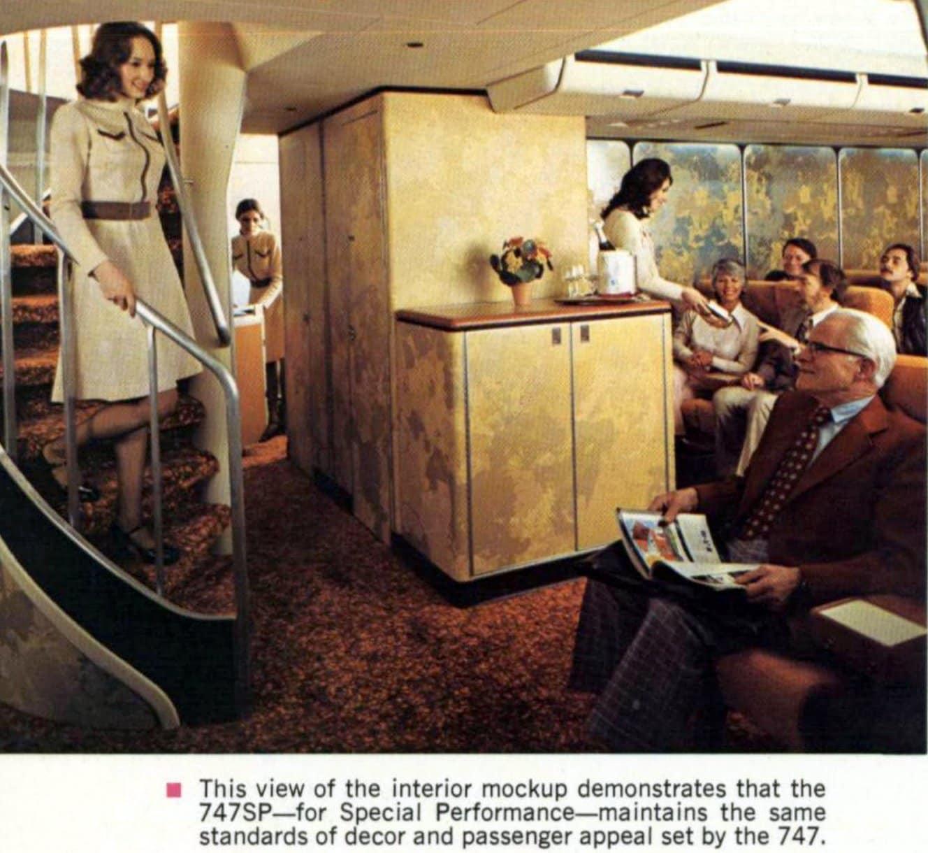 Interior mockup of 747SP Special Performance jet (1973)