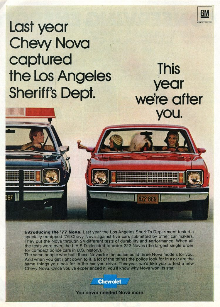 Introducing the 1977 Chevy Nova - Vintage ad