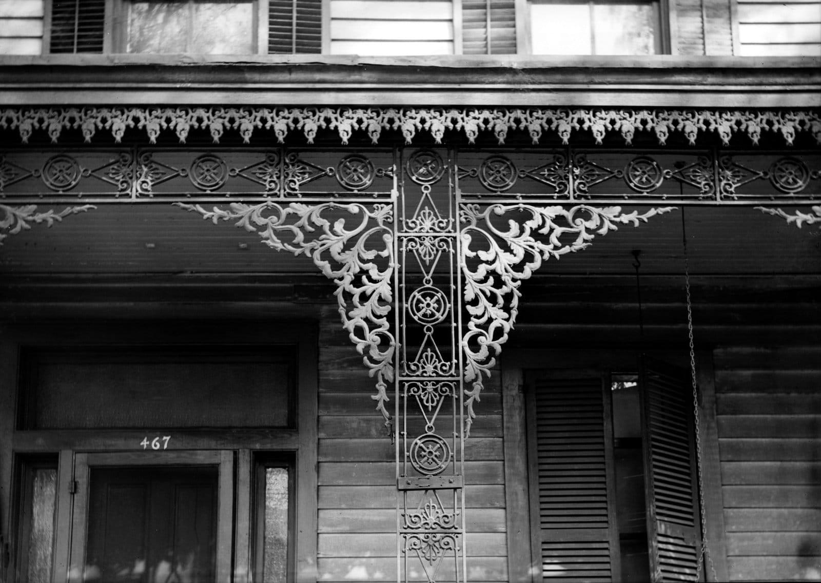 Iron lace at 467 Greene Street in Augusta, Georgia (c1930s)