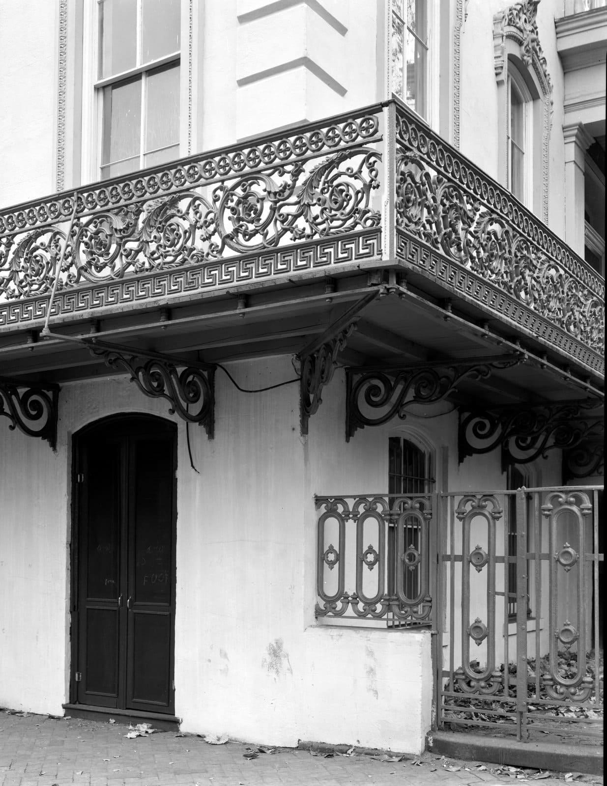 Ironwork balcony at the Hardee-Hartridge House, Savannah - 1930s