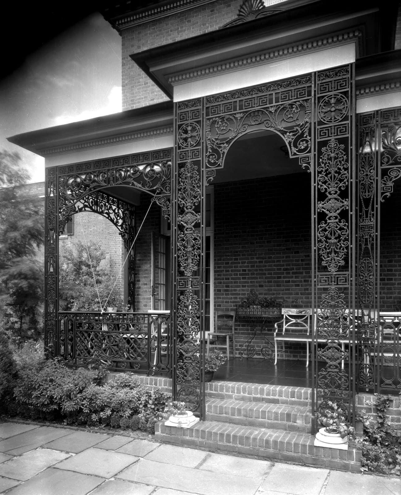 Ironwork porch at 1800 Monument Avenue, Richmond, Virginia (1933)