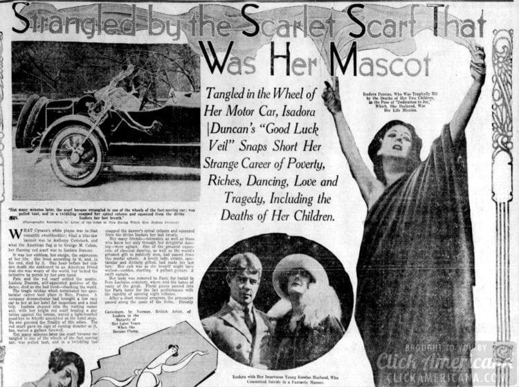 Isadora Duncan newspaper article about her death - October 1927