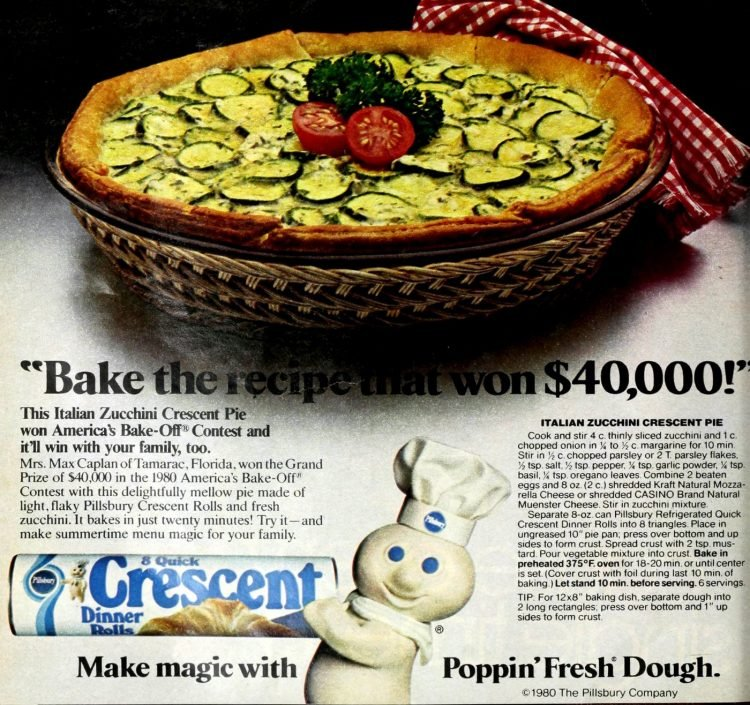 Italian Zucchini Crescent Pie vintage recipe