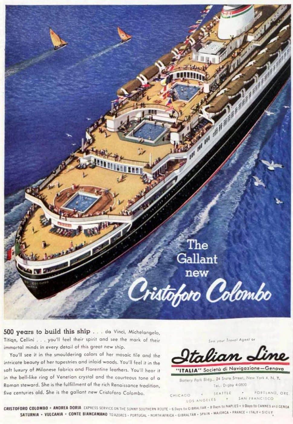Italian cruise line - Cristoforo Colombo 1954