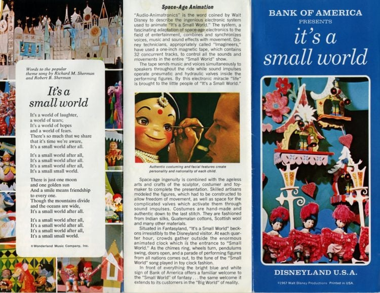 Disneyland's'It's a Small World' vintage brochure