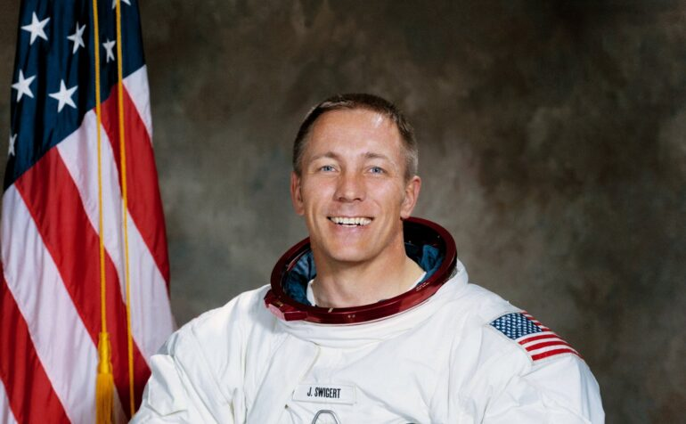 Jack Swigert in space suit NASA