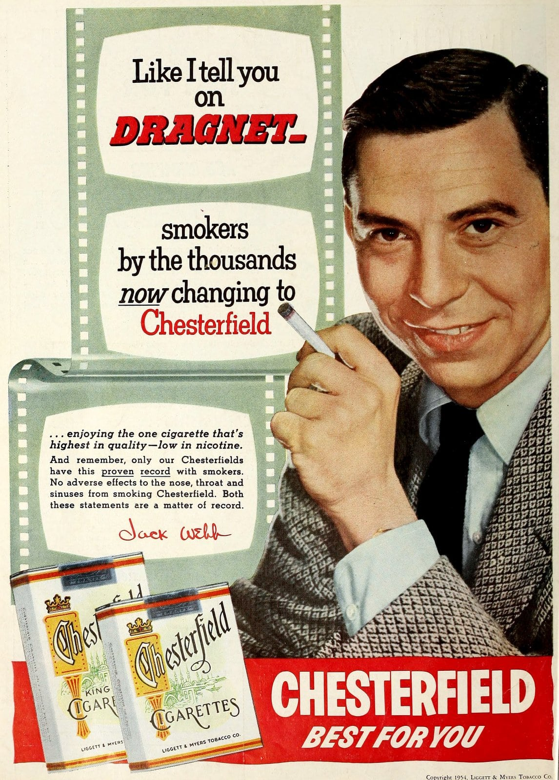 Jack Webb for Chesterfield cigarettes (1954)