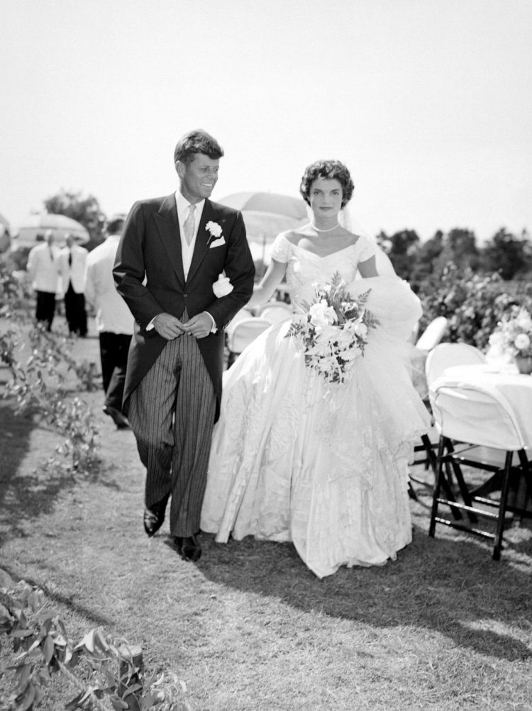 Jack and Jackie - Mr and Mrs Kennedy at their outdoor wedding reception 1950s