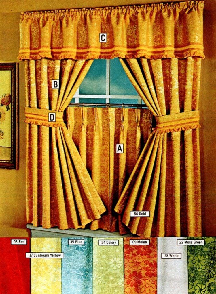 Jacquard-woven floral motif - Retro window curtains