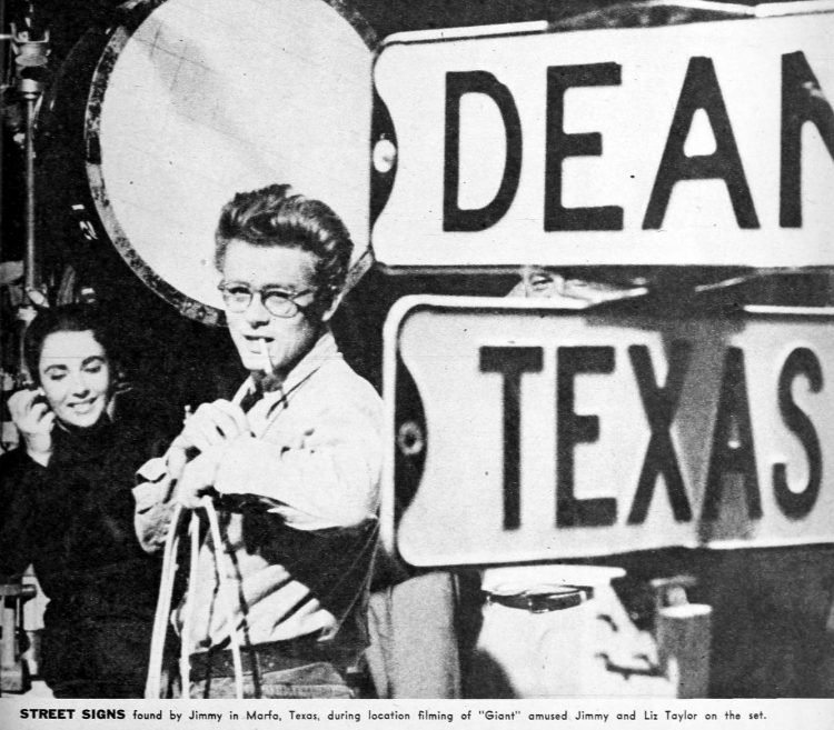 James Dean on the set of the movie Giant