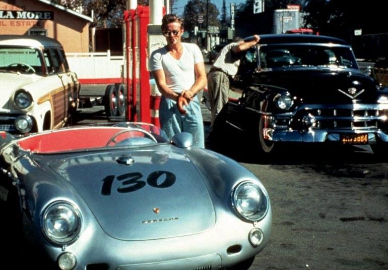 James Dean with Silver Porsche