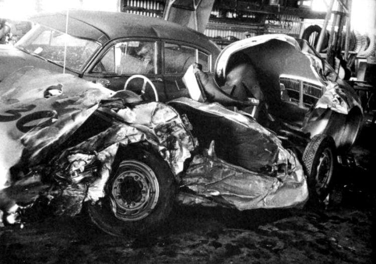 James Dean's car after fatal crash in 1955