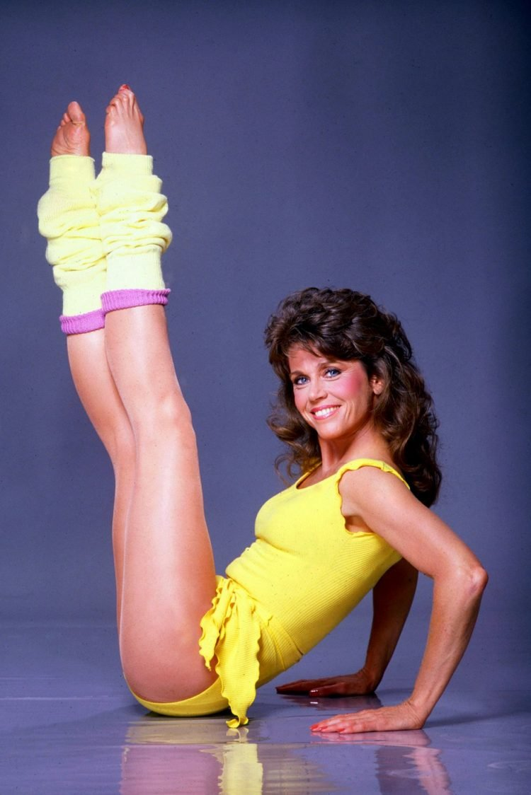 Jane Fonda working out in her leotard & leg warmers