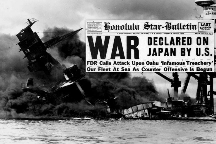 Japan declares war by bombing Pearl Harbor in Hawaii, and the US joins WWII (1941)