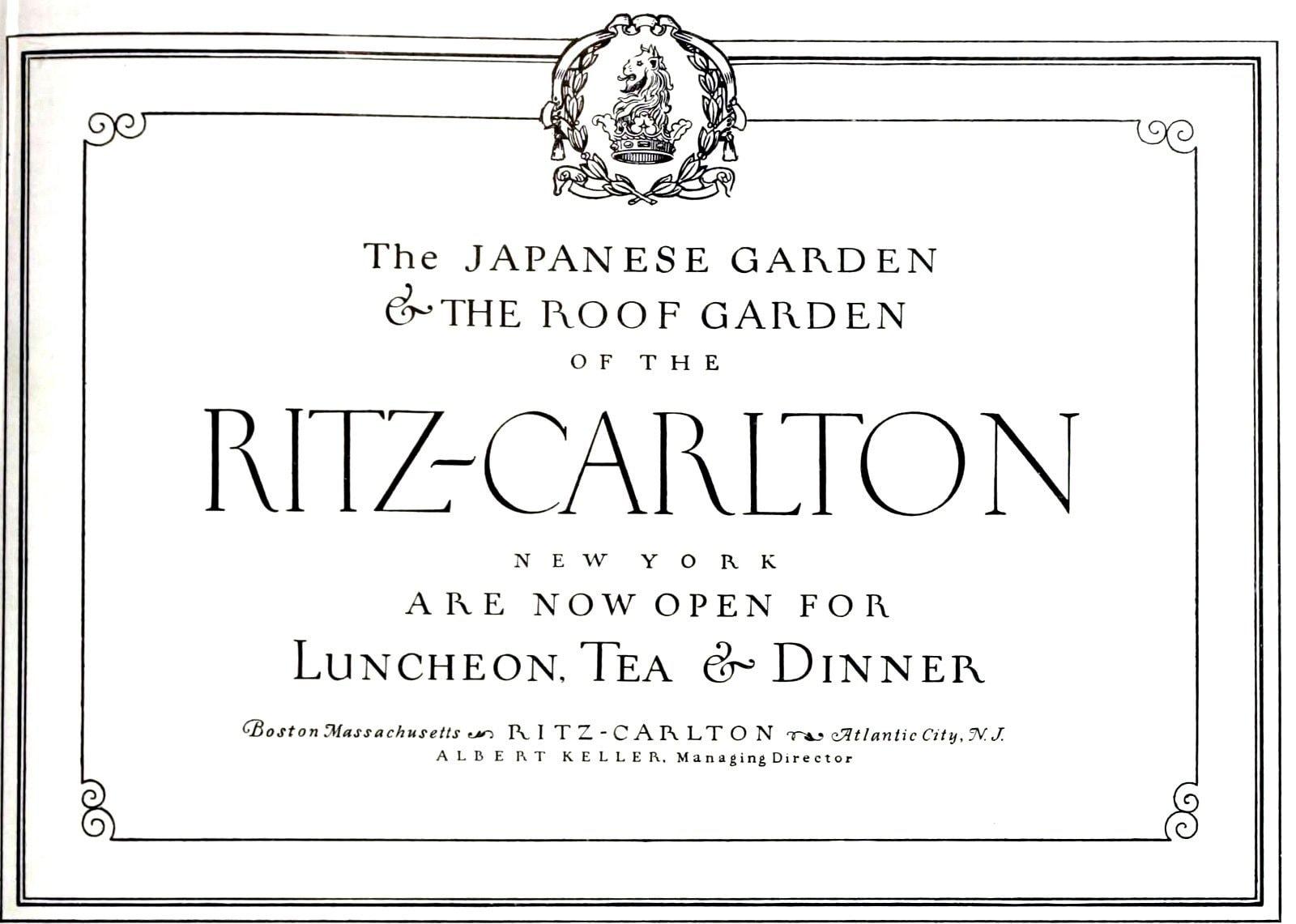 Japanese Garden and Roof Garden open - Ritz Hotel NYC (1927)