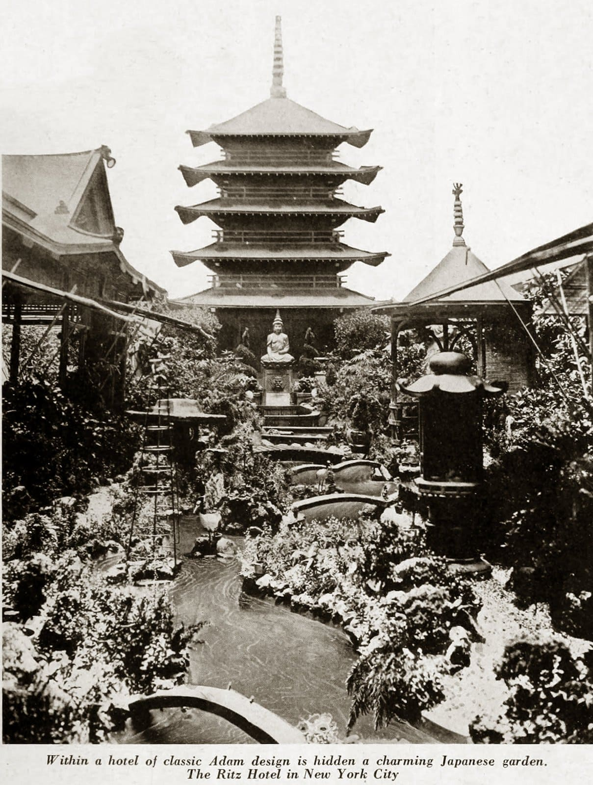 Japanese Garden at the old Ritz-Carlton Hotel in New York (1924)