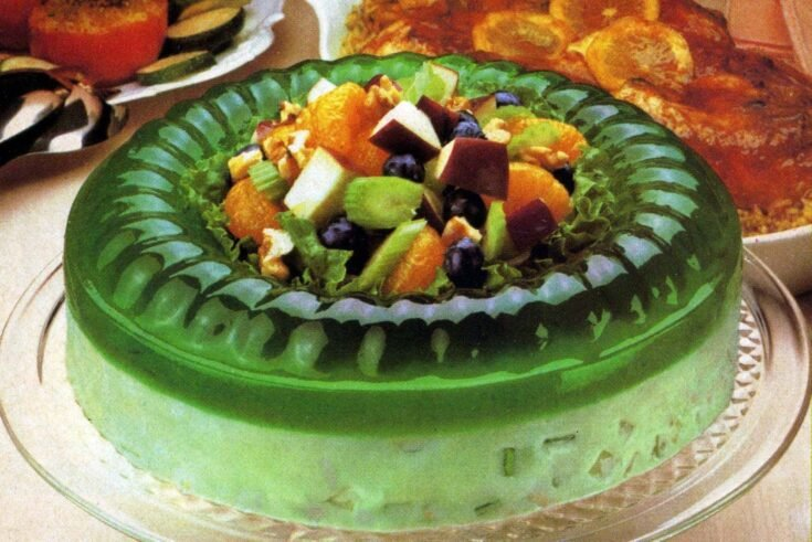 This 70s Jell O Celery Nut Circle Gelatin Mold Combines Lime Jello With Sour Cream Nuts And Celery Click Americana