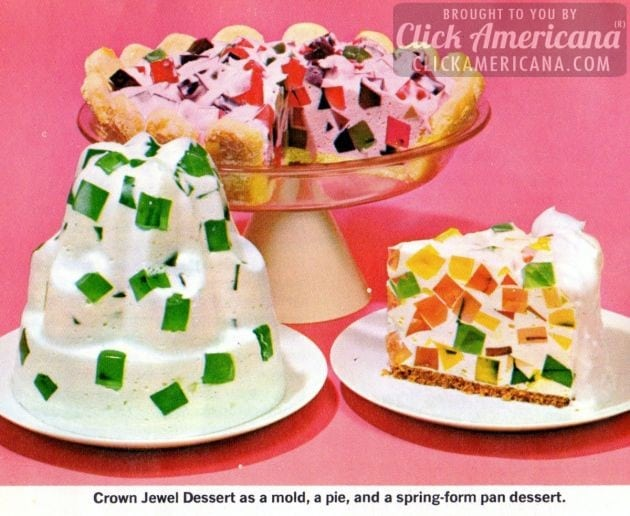 Jell-O Crown Jewel/Window Glass desserts (1960s)